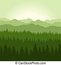 conífero, montañas, fondo., vector, verde, niebla, bosque