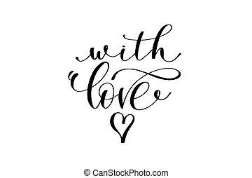 con, amor, mano, letras, inscripción