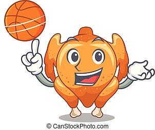 con, baloncesto, pollo asado, en, un, mascota, placa