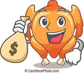 con, bolsa dinero, pollo asado, en, un, mascota, placa