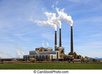 con carbón, planta, utah, central, potencia