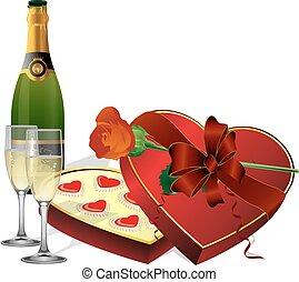 con, feriado, dulces, champaña, y
