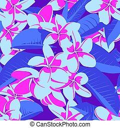 con, hawaiano, patrón, hojas, seamless, tropical, flowers., ...