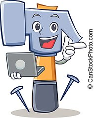 con, laptop, martello, carattere, cartone animato, emoticon