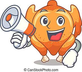 con, megáfono, pollo asado, en, un, mascota, placa