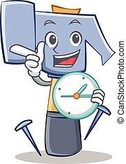 con, orologio, martello, carattere, cartone animato, emoticon