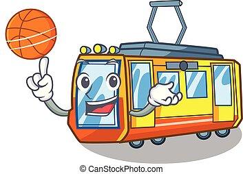 con, pallacanestro, treno elettrico, in, il, carattere,...