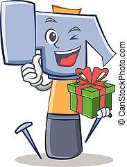con, regalo, martello, carattere, cartone animato, emoticon