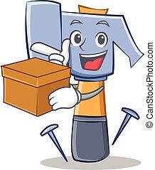 con, scatola, martello, carattere, cartone animato, emoticon