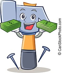 con, soldi, martello, carattere, cartone animato, emoticon
