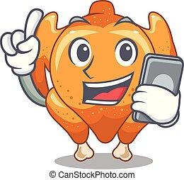 con, teléfono, pollo asado, en, un, mascota, placa