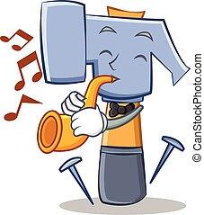 con, tromba, martello, carattere, cartone animato, emoticon