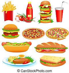 con, un, conjunto, de, comida rápida, y, salsade tomate,...