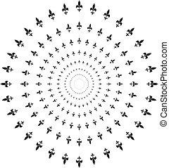 concêntrico, lírio, círculo