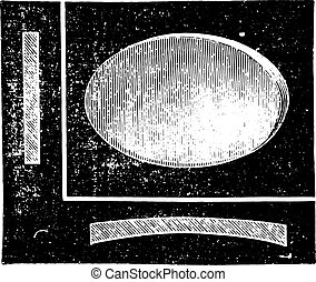 Concave cylindrical lens, vintage engraving