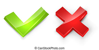 Concaved 3D tick and cross signs isolated on white...