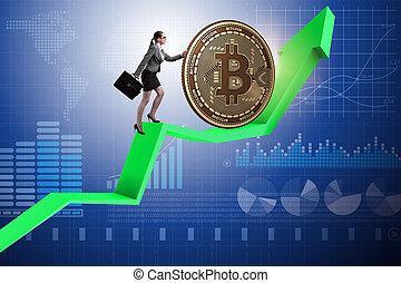 conce, üzletasszony, rámenős, blockchain, bitcoin, cryptocurrency