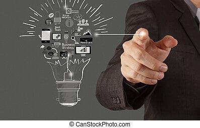 conce , επιχείρηση , ελαφρείς , χέρι , βολβός , ζωγραφική , στρατηγική , δημιουργικός