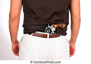 Concealed Weapon - Man with revolver has the weapon ...