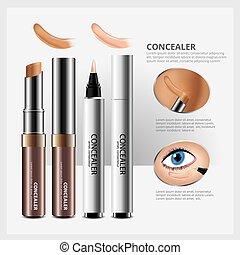 concealer, パッケージ, 構造, 化粧品, イラスト, 顔, ベクトル