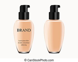 Concealer on white background, isolated, tube of light flesh-colored with black cap with inscription and without, 3d vector, realistic illustration, advertisement, design, cosmetics, banner, catalog