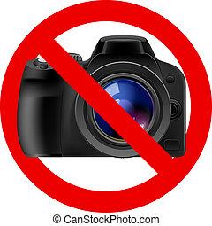 conceduto, segno, macchina fotografica, no