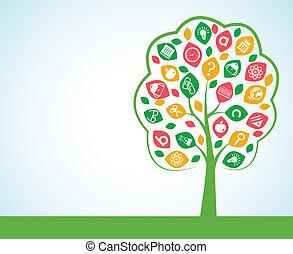 conceito, árvore, conhecimento