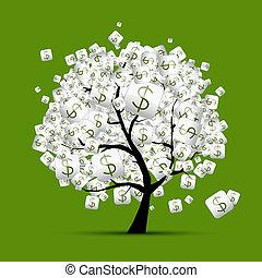 conceito, árvore dinheiro, dólar, desenho, sinais, seu