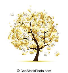 conceito, árvore dinheiro, desenho, sinais, seu, euro