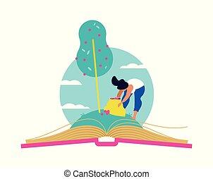 conceito, árvore, livro, crescendo, educação, abertos