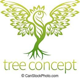 conceito, árvore, pássaro