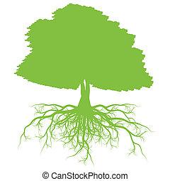 conceito, árvore, vetorial, ecologia, fundo, raizes