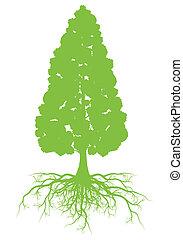 conceito, árvore, vetorial, ecologia, raizes, fundo, cartão