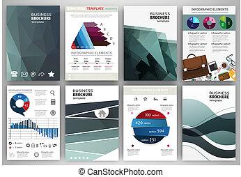 conceito, ícones negócio, abstratos, fundos, infographics