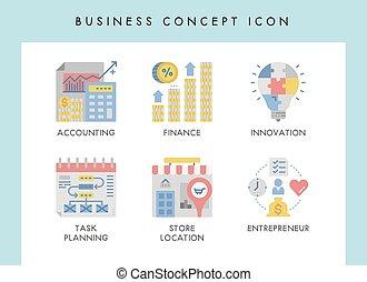 conceito, ícones negócio