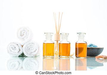 conceito, óleo, aromatherapy, spa, sal, essencial