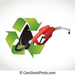 conceito, óleo, gás, ilustração, bomba, recicle