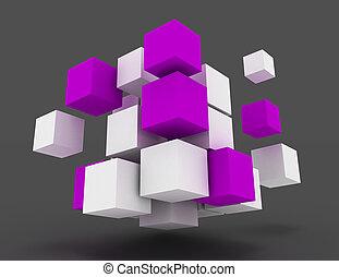 conceito abstrato, cubes., negócio, 3d