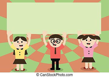 conceito, abstratos, modernos, três, falando, desenho, sorrindo, cantando, espaço, braços, geomã©´ricas, vazio, apartamento, ilustração negócio, fundo, cópia, levantamento, ambos, escola brinca, elemento, vetorial, cima