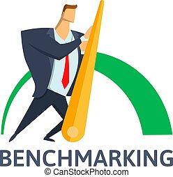 conceito, agulha, illustration., negócio, empurrar, vetorial, benchmarking, homem negócios, indicator.