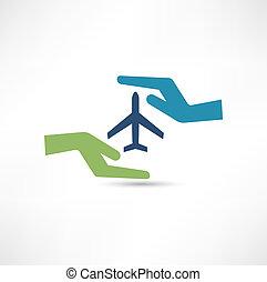 conceito, aircraft., cofre, flight., mãos