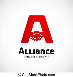 conceito, aliança, símbolo, vetorial, modelo, logotipo, ou,...