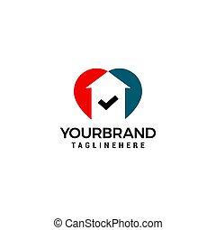 conceito, amor, casa, marca, vetorial, desenho, modelo, logotipo, cheque
