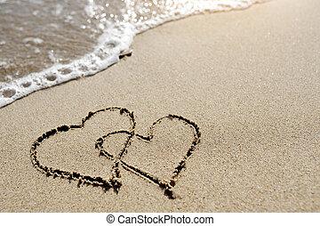conceito, amor, -, dois, areia, desenhado, corações, praia