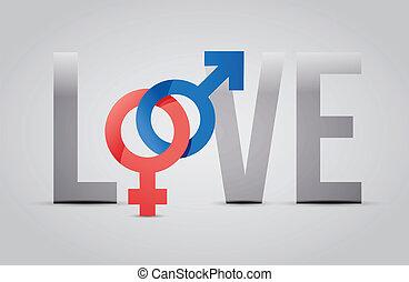 conceito, amor, femininas, ilustração, macho