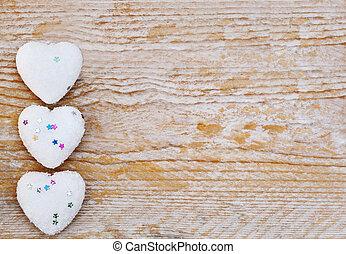 conceito, Amor, madeira,  valentines,  -, fundo, corações, Dia