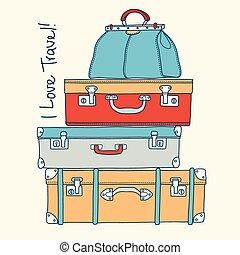 conceito, amor, malas, vindima, viagem, travel., vetorial