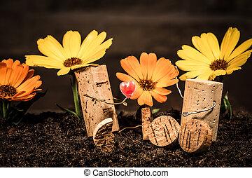 conceito, amor, par, cortiça, flores, figuras, vinho