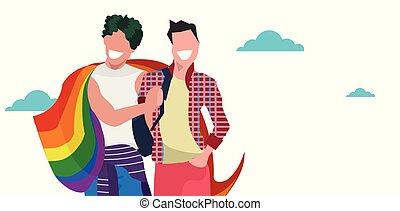 conceito, amor, parada, retrato, sorridente pé, arco íris, festival, dois, segurando, orgulho, apartamento, par, lgbt, bandeira, caráteres, horizontais, sujeitos, caricatura, junto, homossexuais, macho