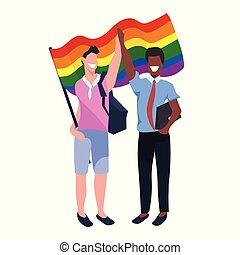 conceito, amor, parada, sorridente pé, arco íris, festival, dois, mistura, segurando, orgulho, apartamento, cheio, par, lgbt, bandeira, caráteres, sujeitos, caricatura, junto, comprimento, raça, homossexuais, macho
